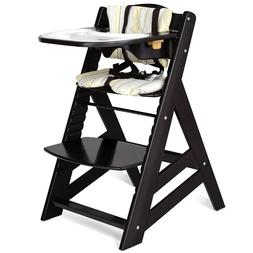 Baby High Chair Wooden Adjustable Height With Removeable Tra