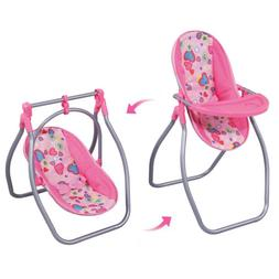 Toddler Highchair Baby Cradle Swing for Simulation Doll Furn